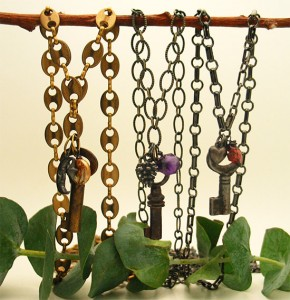 These are all made with base metal chains and antique keys and measure 32 inches long. $45 each