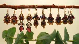 The garnet cluster earrings are all made with gold vermeil garnet settings combined with other gemstones and 14k gold-filled earwires. They range in price from $38-$58
